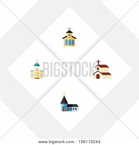 Flat Icon Building Set Of Christian, Religion, Religious And Other Vector Objects
