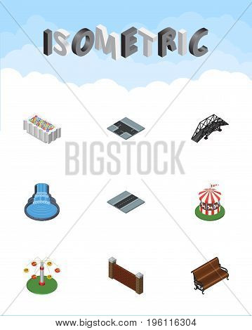 Isometric Urban Set Of Path, Swing Attraction, Crossroad And Other Vector Objects