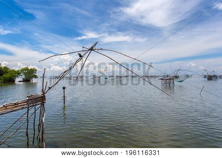 Fishermen thai style fishing trap in Pak Pra Village Net Fishing Thailand Thailand Shrimp Fishing Phatthalung Thailand.