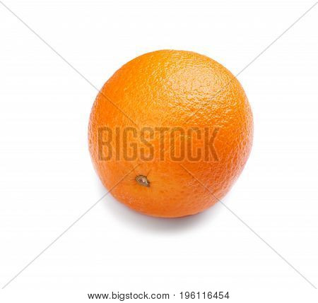 A whole raw ripe orange isolated over the radiant white background. Delicious fresh refreshing orange full of nutrients. Freshness, health, vitamin concept.