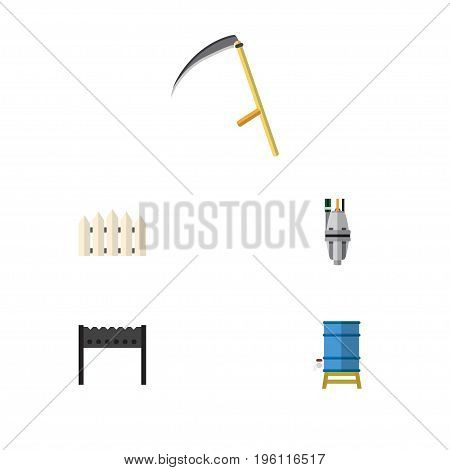 Flat Icon Garden Set Of Barbecue, Wooden Barrier, Cutter And Other Vector Objects