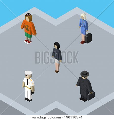 Isometric Human Set Of Lady, Seaman, Girl And Other Vector Objects