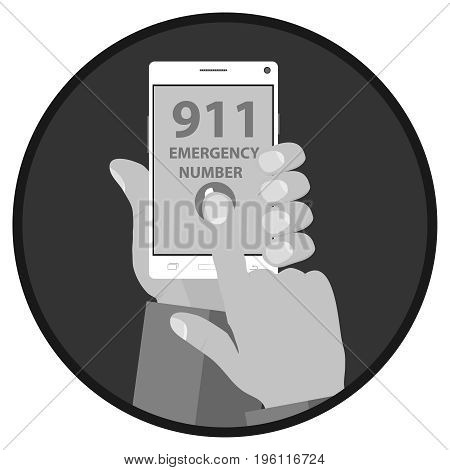 Call the emergency service hands hold the phone. Flat design vector illustration vector.