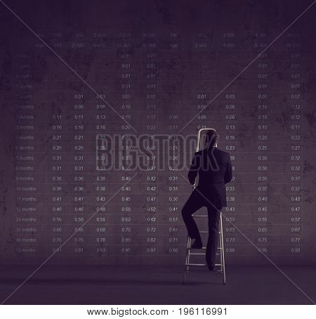 Business man standing on stepladder over diagram background. Business, career, progress concept.