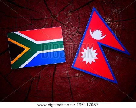 South African Flag With Nepali Flag On A Tree Stump Isolated