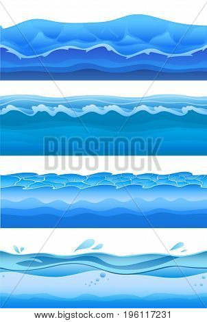 Blue sea water waves, seamless background set for game design. Vector illustration, isolated on white background.