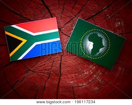 South African Flag With African Union Flag On A Tree Stump Isolated