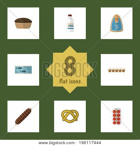 Flat Icon Food Set Of Cookie, Eggshell Box, Tin Tuna And Other Vector Objects