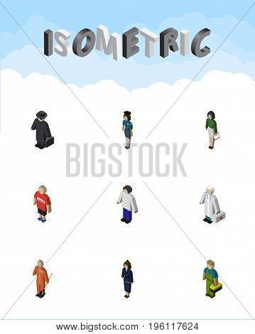 Isometric Person Set Of Businesswoman, Pedagogue, Policewoman And Other Vector Objects
