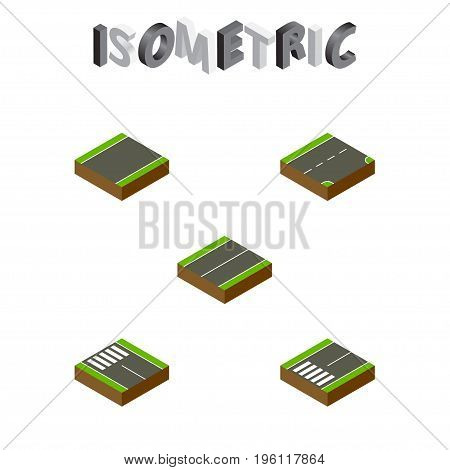 Isometric Road Set Of Footpassenger, Strip, Down And Other Vector Objects
