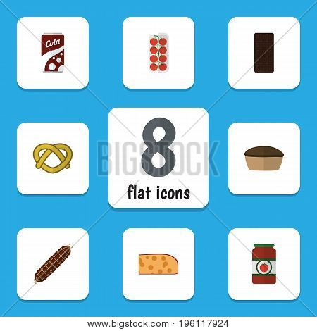 Flat Icon Food Set Of Tart, Tomato, Cookie And Other Vector Objects
