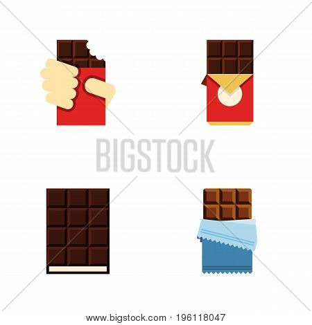Flat Icon Cacao Set Of Shaped Box, Dessert, Chocolate Bar And Other Vector Objects