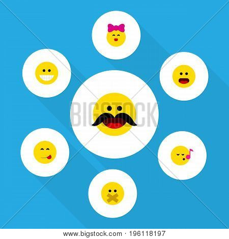 Flat Icon Expression Set Of Caress, Grin, Descant And Other Vector Objects