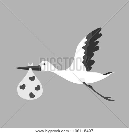 A stork carries a child a stork in its beak carries a child. Flat design vector illustration vector.