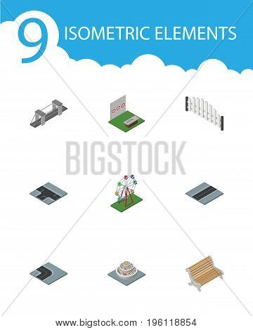 Isometric Architecture Set Of Path, Aiming Game, Highway And Other Vector Objects