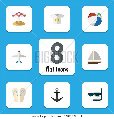Flat Icon Beach Set Of Ship Hook, Clothes, Beach Sandals Vector Objects