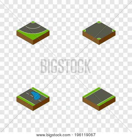 Isometric Way Set Of Crossroad, Road, Unilateral And Other Vector Objects