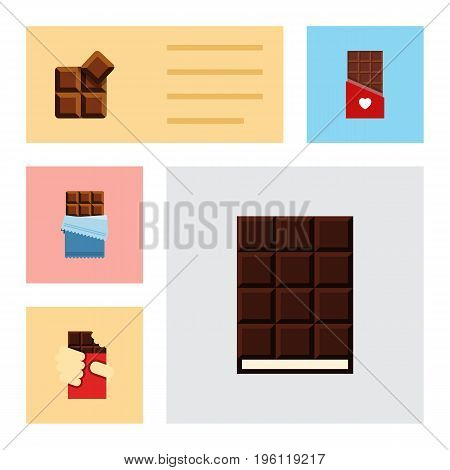 Flat Icon Chocolate Set Of Dessert, Chocolate, Cocoa And Other Vector Objects