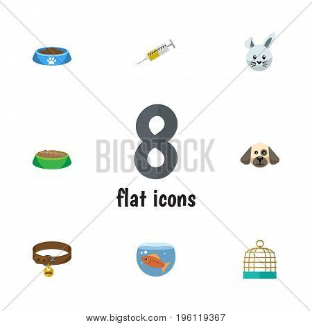 Flat Icon Pets Set Of Hound Necklace, Bunny, Fishbowl And Other Vector Objects