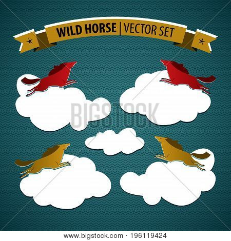 Wild horse colored isolated icon set with multicolored horses on coluds on blue background vector illustration