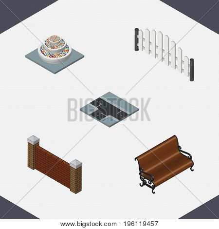 Isometric City Set Of Barrier, Sitting, Barricade And Other Vector Objects