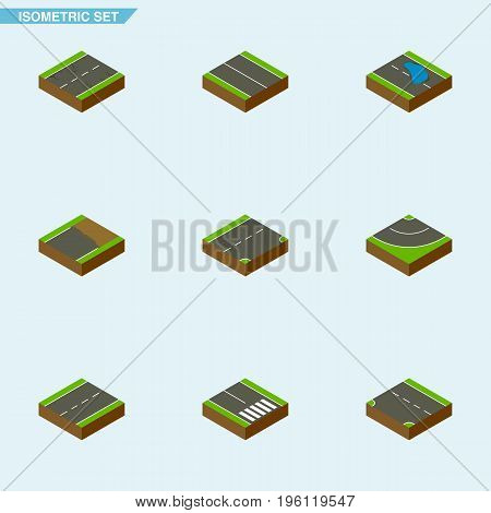Isometric Way Set Of Pedestrian, Down, Cracks And Other Vector Objects
