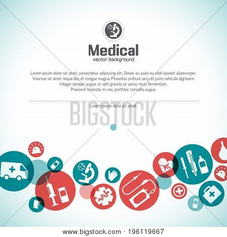 Medical care background with text and health symbols flat vector illustration
