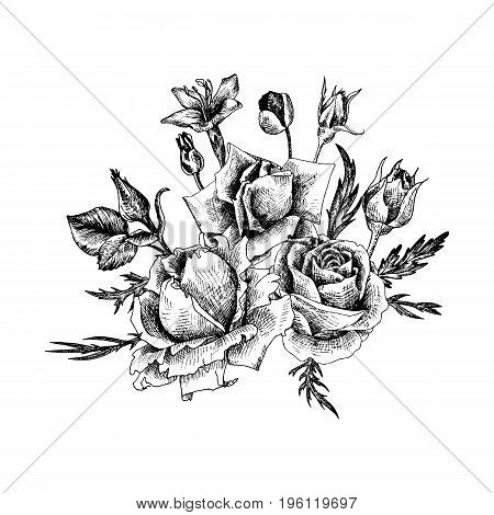 vintage vector floral composition in victorian style, flowers, buds and leaves of roses, ink drawing, imitation of engraving, hand drawn design element