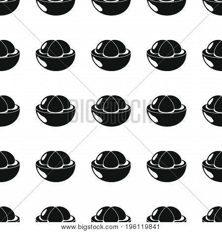 Mangosteen black simple silhouette vector seamless pattern. Black fruit stylish texture. Repeating Mangosteen fruit seamless pattern background for web