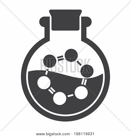 Biochemistry concept with laboratory flask and molecule, vector silhouette