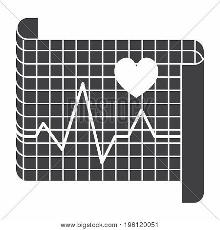 Cardiology concept with electrocardiography ECG to measure heartbeat, vector silhouette