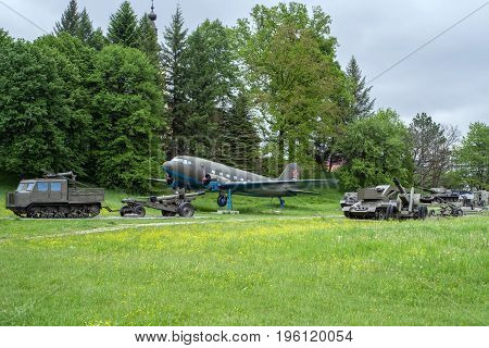 SVIDNIK SLOVAKIA - MAY 14: Exhibits in military museum on May 14 2017 in Svidnik