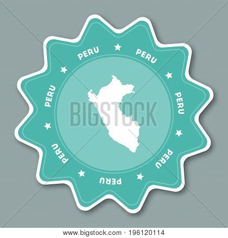 Peru Map Sticker In Trendy Colors. Star Shaped Travel Sticker With Country Name And Map. Can Be Used