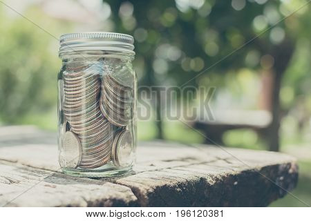 Coin in bottle glass on wood table with blurred green garden background Copy space