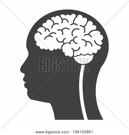 Brain in head for neurology concept, vector silhouette