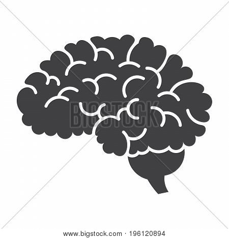Neurosurgery icon with human brain, vector silhouette