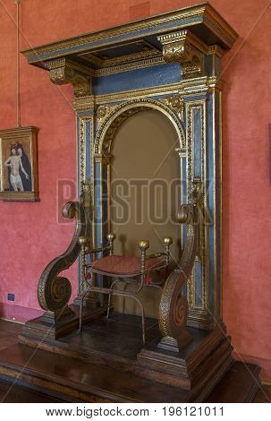 Castle Saint Angelo. Detail of hall. Interior view. Rome. Italy. June 2017