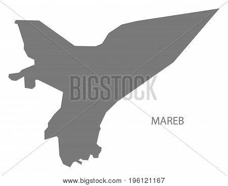 Mareb Yemen Governorate Map Grey Illustration Silhouette Shape