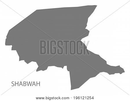Shabwah Yemen Governorate Map Grey Illustration Silhouette Shape