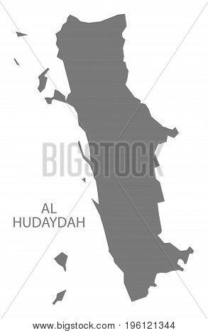 Al Hudaydah Yemen Governorate Map Grey Illustration Silhouette Shape