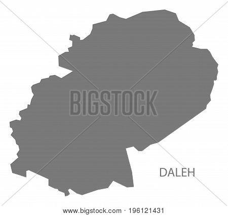 Daleh Yemen Governorate Map Grey Illustration Silhouette Shape