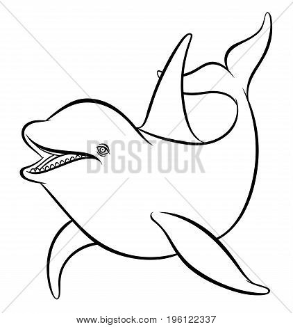 Vector drawing - line art dolphin or orca