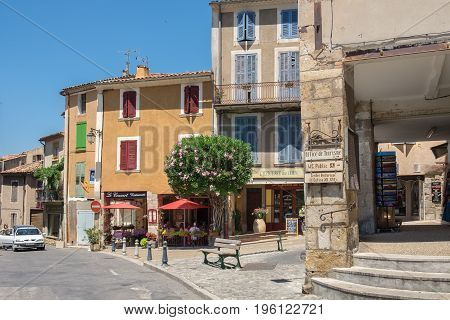 Main Street With Cafe And Restaurants At Amazing Medieval Town Moustier-sainte-marie, France