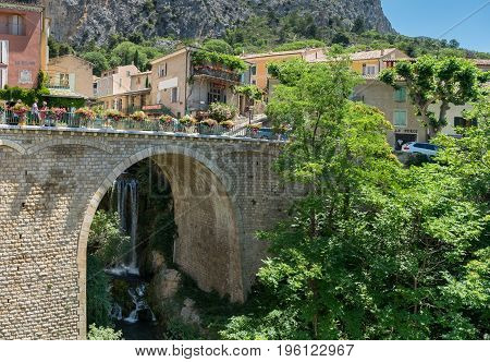 Waterfall And Ancient Arched Bridge, Moustier-sainte-marie, France