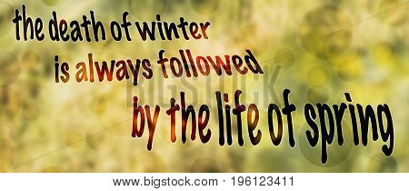 panoramic winter to spring background with words death and life