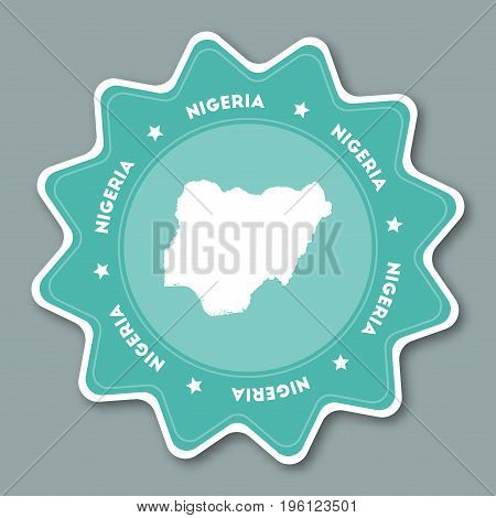 Nigeria Map Sticker In Trendy Colors. Star Shaped Travel Sticker With Country Name And Map. Can Be U