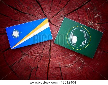 Marshall Islands Flag With African Union Flag On A Tree Stump Isolated