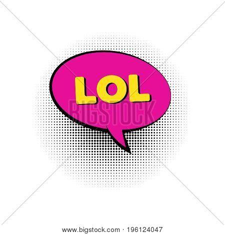 lol pop art colored speech bubbles retro halftone dialog chat boxes text  frame  bubbles vector