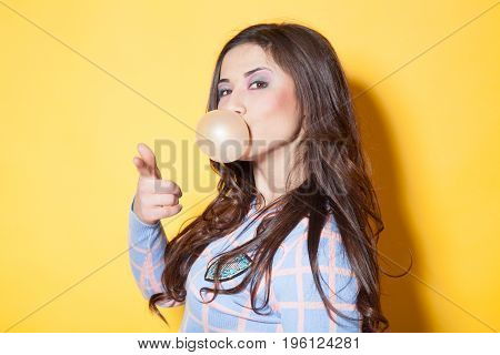 girl with chewing gum in your mouth tricked bubble
