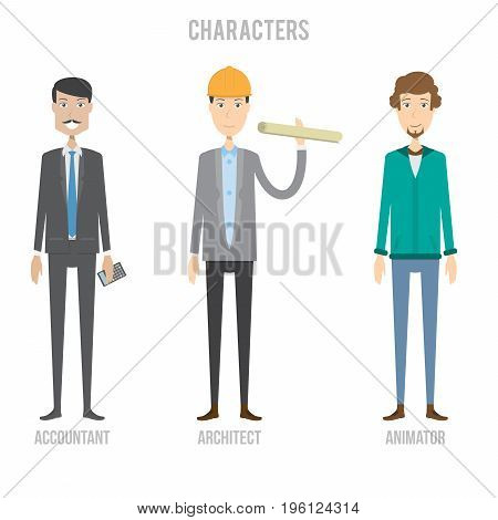 Character Set include Accountant, Architect and Animator   set of vector character illustration use for human, profession, business, marketing and much more.The set can be used for several purposes like: websites, print templates, presentation templates,